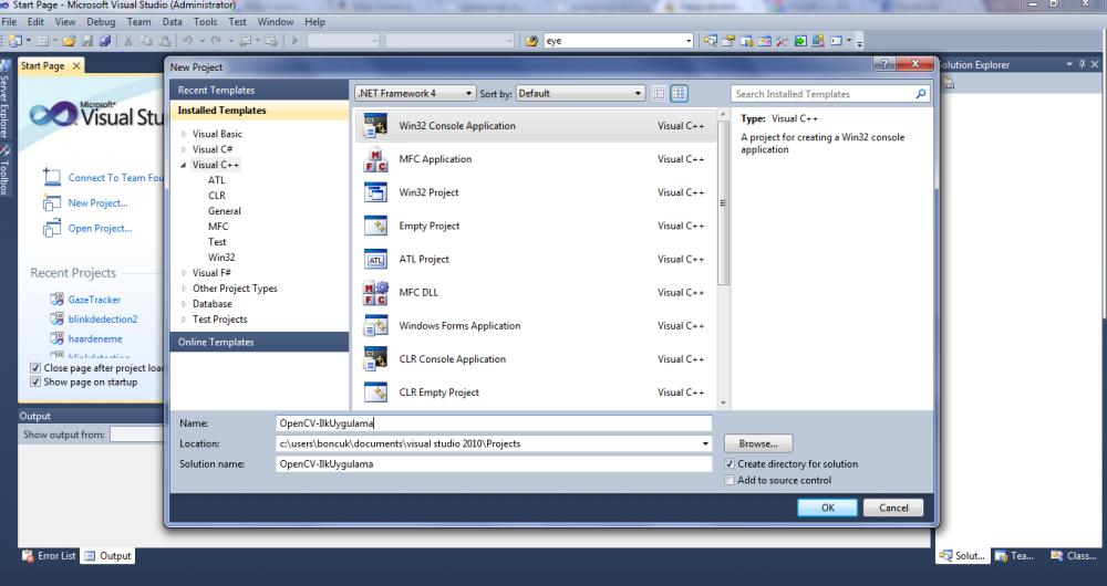 Windows 7'de Visual Studio 2010'da OpenCV-2.1.0   (2/6)