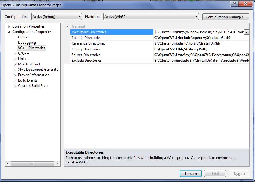 Windows 7'de Visual Studio 2010'da OpenCV-2.1.0   (3/6)