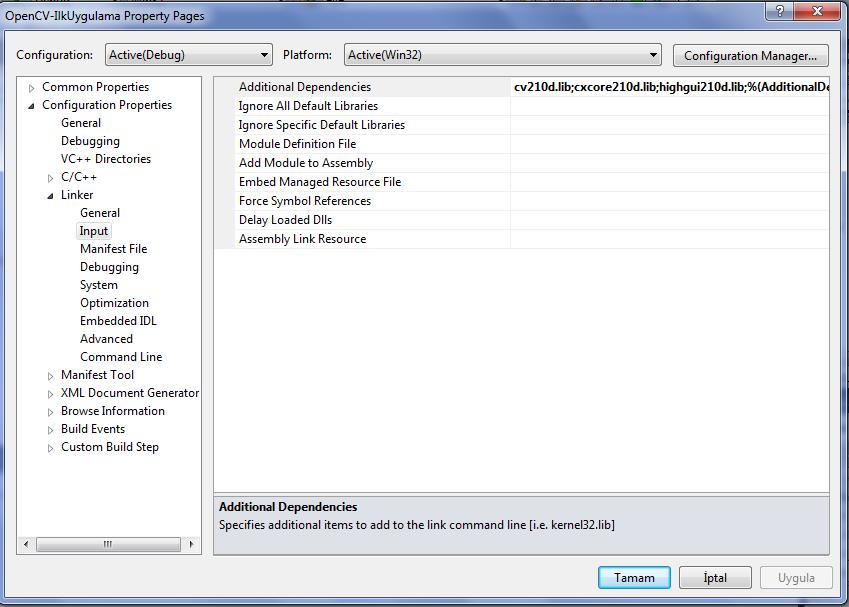 Windows 7'de Visual Studio 2010'da OpenCV-2.1.0   (4/6)